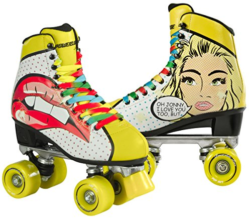 Powerslide Quad Skates: Rollschuhe Pop Art Retro Pin Up BlondKnallrotes Gummiboot