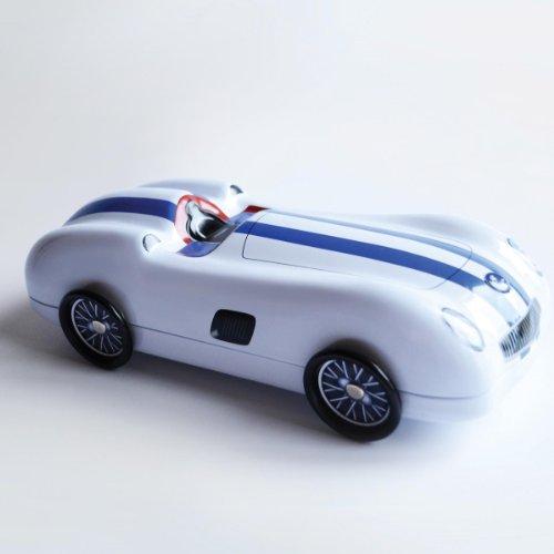 racing car blechdose rennwagen mit rollen silber blau gestreiftknallrotes gummiboot. Black Bedroom Furniture Sets. Home Design Ideas
