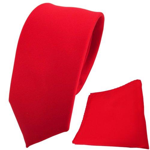 Knallroter Schlips schmale Designer Krawatte + Einstecktuch rot verkehrsrot knallrot einfarbig