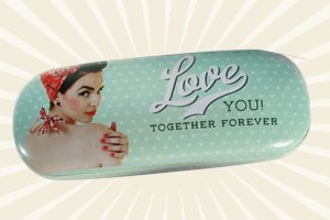 Brillenetui Retro Style Pinup Love You ! Together Forever