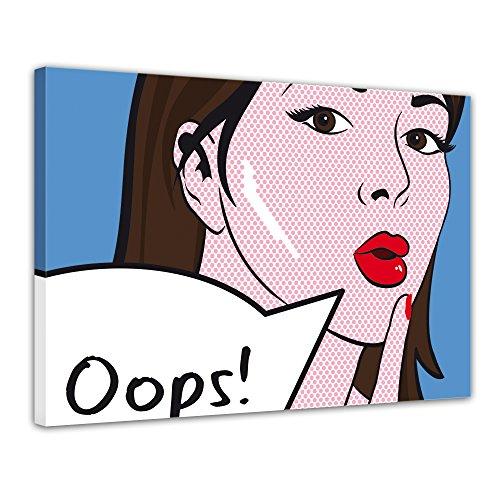 Pop Art Leinwand Bild Oops Sprechblase Pin Up