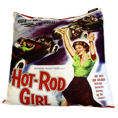 Retro Cinema Kissenbezug Pin Up Hot Rod Girl