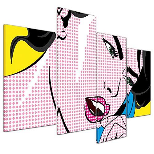 Pop Art Leinwand Bild Frau am Telefon mehrteilig