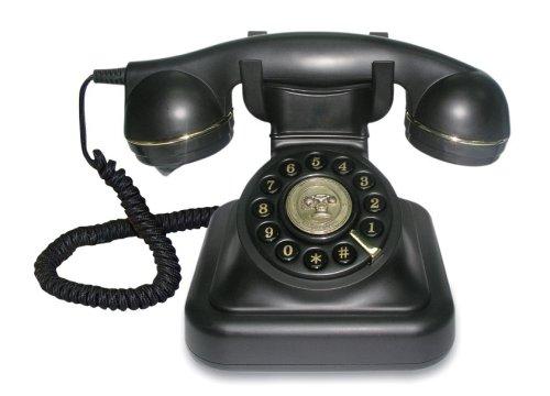 Retro Schnur Telefon matt schwarz